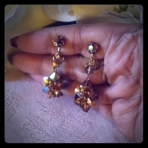 Vintage Dark Amber Aurora Borealis Earrings